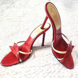 Authentic Sergio Rossi Red  slide sandals heels